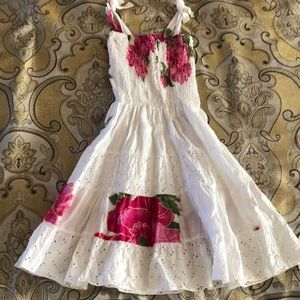 Other - White cotton dress with pink beautiful flowers